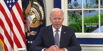 President Joe Biden speaking at an event in the South Court Auditorium.
