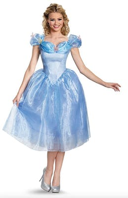 Updated Cinderella costume with added frills and blue tulle for the best couples Halloween costume