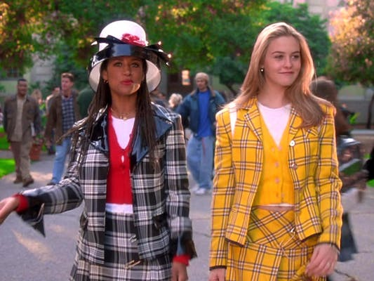 Dionne and Cher in complimenting plaid suit skirts from Clueless