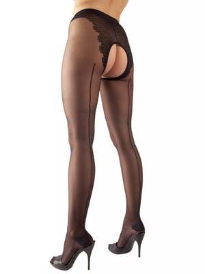 Black pantyhose with prominant back seem and open crotch