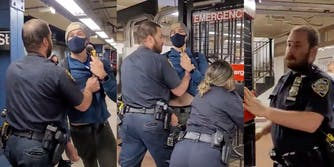NYPD officer is seen dragging Andrew Gilbert across the platform and pushing him out through the emergency exit.