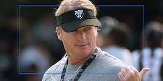 Jon Gruden wearing Raiders visor