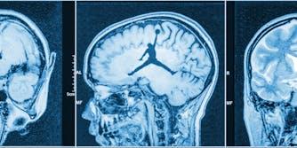 Brain scan with Jumpman logo in center