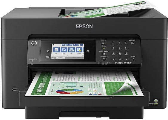 Black epson printer scanning, printing, and showing a touch screen, an essential addition to your home office setup
