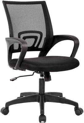 Black desk chair with backsupport and power lever