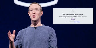 Mark Zuckerberg next to an error message that is showing on Facebook because the website is down.