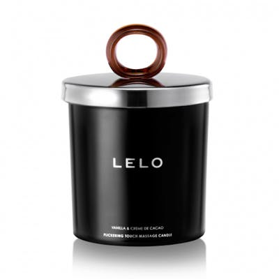 LELO massage oil candle with silver lid