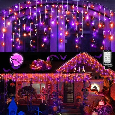 orange and purple string lights dazzle as the best outdoor halloween decoration