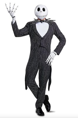 Jack Skellington costume with face mask and suit for best couples Halloween costumes