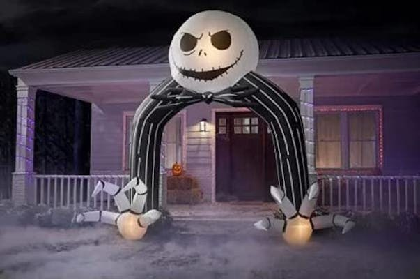 Jack skellington inflatable archway with claws for hands as the best outdoor halloween decoration