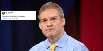 Rep. Jim Jordan next to a tweet where he says Ohio should ban all vaccine mandates.