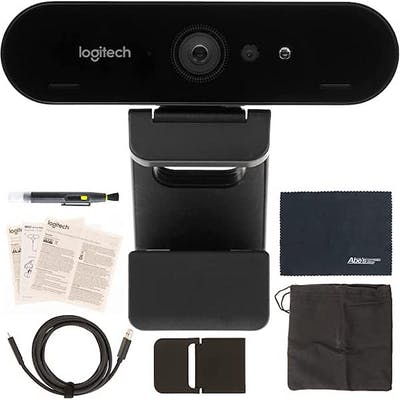 Black logitech webcam surrounded by extras and essentials for best HD cams for live streaming