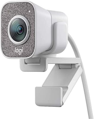 White and grey webcam with logtitech logo