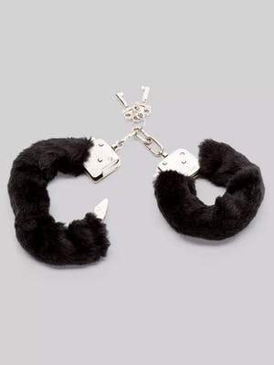 Pair of two black furry handcuffs with silver accents