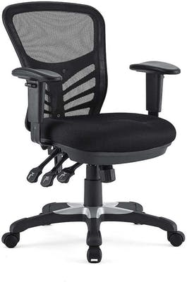 Black ergonomic desk chair with ample back support and three different height and comfort levers, ideal for a home office setup