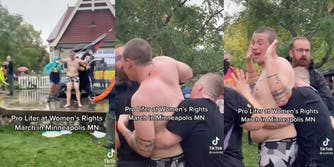 Nearly nude protester attempts to derail march