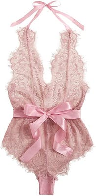 Baby pink lace babydoll bodysuit with thick pink satin bow