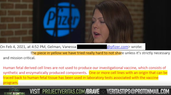 A screenshot from a Project Veritas video about the Pfizer vaccine.