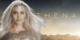 an image of angelina jolie from eternals in a promo photo that has become a meme