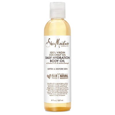 Best massage oils bottle of Shea Moisture hydration oil on white background