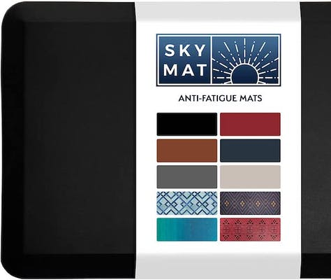 Black anti-fatigue mat showing multiple patterns on its packaging