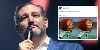 Sen. Ted Cruz next to a tweet of someone making a joke about him being the Zodiac Killer.