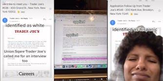这位女士在交易者乔的申请表上把种族分为西班牙裔和白人,白人申请表得到面试