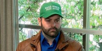 """bearded man in """"Make Speech Free Again"""" hat"""