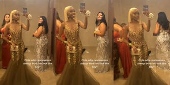 """Young women in dresses in bathroom with caption """"Chile why caucausions always think we look like bey?"""""""