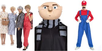 Group Halloween costume ideas including golden girls, despicable me, and super mario bros.