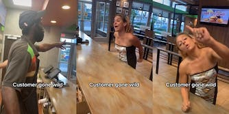 """Burger King employee pointing to exit (l) woman at counter yelling (center and right) all with caption """"Customer gone wild"""""""