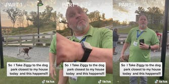 """dog in park (l) man pointing (c) man with camera (r) all with caption """"So I Take Ziggy to the dog park closest to my house today and this happens!!!"""""""