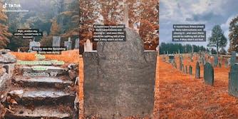 "Stone steps leading into graveyard with caption ""The Dummerston Vine Curse, Dummerston VT"""