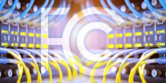 FCC logo over router cabling