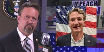 Seb Gorka at microphone (Inset: Glenn Youngkin in front of US flag)