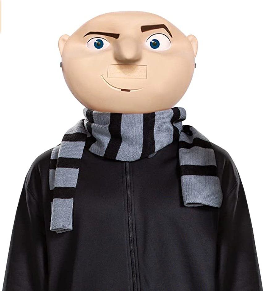 Group Halloween costumes example Gru from the Despicable Me costume, a large mask of the character from the movie