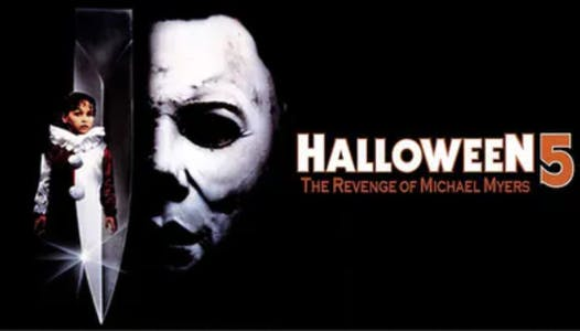 Halloween 4 the revenge of michael myers poster with a little girl in a clown suit super imposed over a knife
