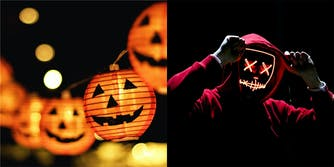 Halloween outdoor lighting solutions including LED lights and a light up mask.