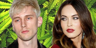 Machine Gun Kelly and Megan Fox in front of cannabis leaf background