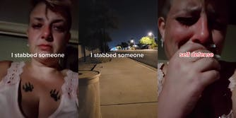 """woman with caption """"I stabbed someone"""" (l) street with emergency responder lights (c) woman covering mouth with caption """"self defense"""" (r)"""