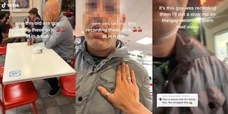 """man at table with phone tilted, caption """"saw this old ass guy recording these girls at in n out"""" (l) person placing hand on man's chest (c) close up of man with captions """"it's this guy was recording them i'll put a slow mo on the guy recording them next video"""" and """"Your a actual man for doing this. You dropped this 'crown emoji'"""" (r)"""