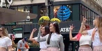 A man allegedly called the Hugh Crew, a K-Pop dance group, communists.