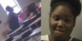 student strikes teacher sitting at desk (l) larrianna jackson mugshot (r)