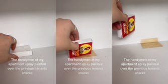 """Hand picking up SunMaid Raisin box with caption """"The handymen at my apartment spray painted over the previous tenants snacks"""""""