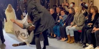 A protester that crashed the Louis Vuitton fashion show in Paris has become a big topic online.