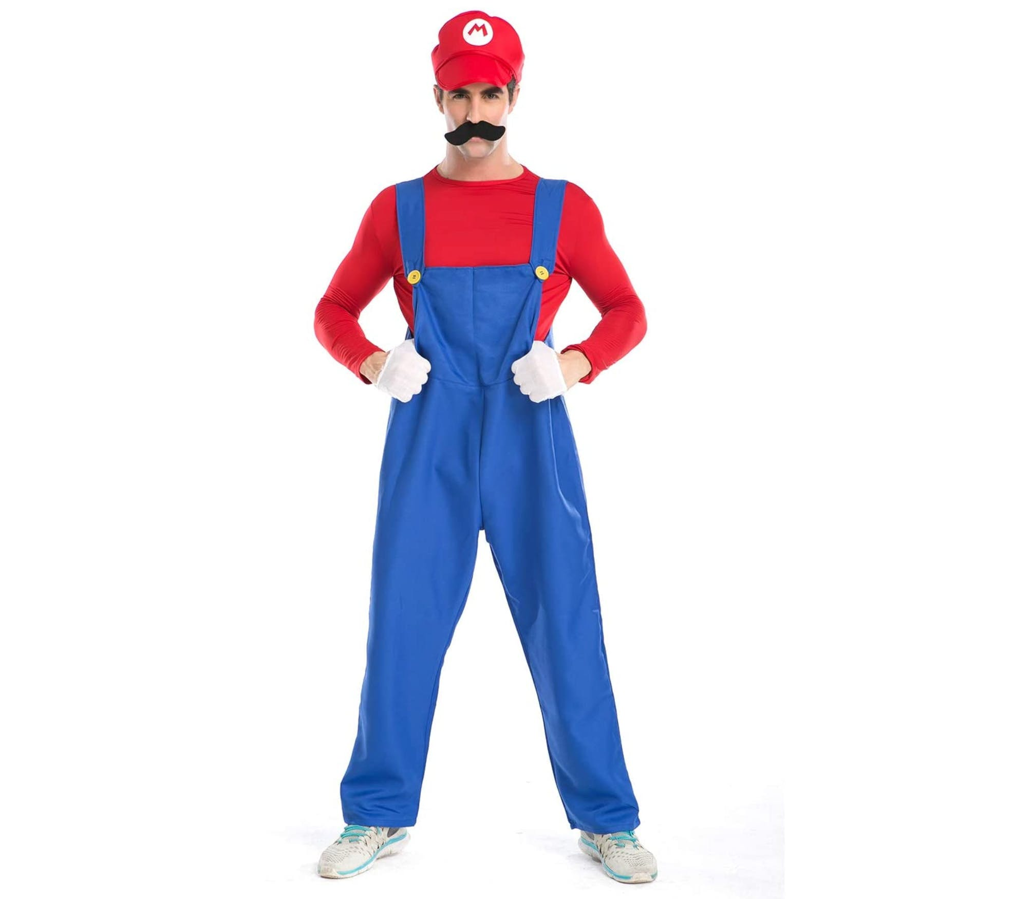 Group Halloween costumes - Super Mario costume, a man in blue overalls, with a red shirt, puffy gloves, a red hat with a M on it, and puffy gloves. There is a moustache on his face.