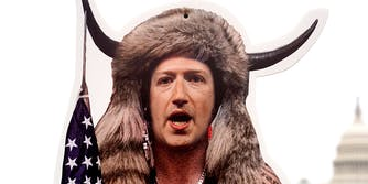 Facebook CEO Mark Zuckerberg portrayed as the QAnon shaman before a Congressional hearing on the role social media played in the January Insurrection.