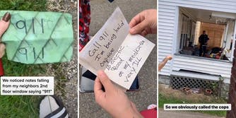 """woman holding green paper with """"911"""" written on it twice with caption """"We noticed notes falling from my neighbors 2nd floor window saying '911'"""" (l) hands holding note that reads """"Call 911 I'm being held captive, No electic, food or my medication very ill"""" (c) police officer on porch with caption """"So we obviously called the cops"""" (r)"""