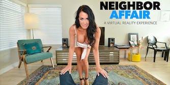 neighbor affair - Reagan Foxx stands before Alex Mack's legs with lusty intent
