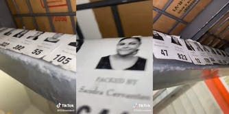"""""""packed by"""" employee stickers placed under walmart rack"""